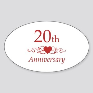 20th Wedding Anniversary Sticker (Oval)